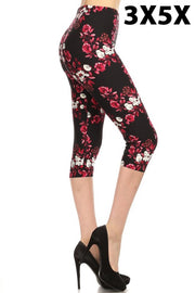 LEG-F {Paradise Point} Pink/White Floral Capri Leggings (SOFT)