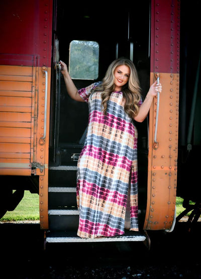 LD-C {Sunkissed Beauty} Plum Gold Grey Tie Dye Maxi Dress CURVY BRAND EXTENDED PLUS SIZE 3X 4X 5X 6X