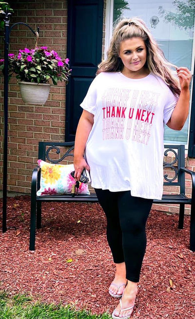 "GT-Z {Thank You Next} SALE!! White Graphic Tee ""Curvy Brand"" EXTENDED PLUS SIZE 3X 4X 5X 6X"