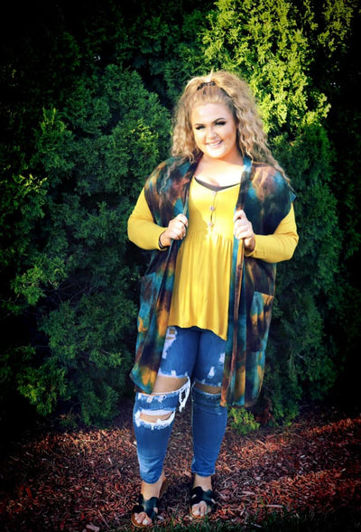OT-Z {Falling Leaves} Brown Teal Mustard Vest Front Pockets PLUS SIZE 1X 2X 3X