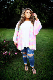 OT-W {Paint Me A Picture}  SALE!! Neon Pink Multi Bell Sleeve Cardigan PLUS SIZE 1X 2X 3X