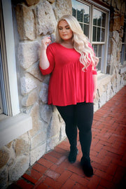 SQ-H (Step Aside) Ruby Babydoll Tunic W/ 3/4 Sleeves  EXTENDED PLUS SIZE 1X 2X 3X 4X 5X 6X CURVY BRAND