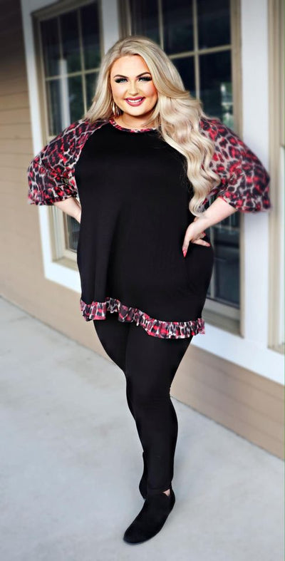 CP-X {Autumn Spices} Black & Red Leopard Sleeve Tunic PLUS SIZE 1X 2X 3X