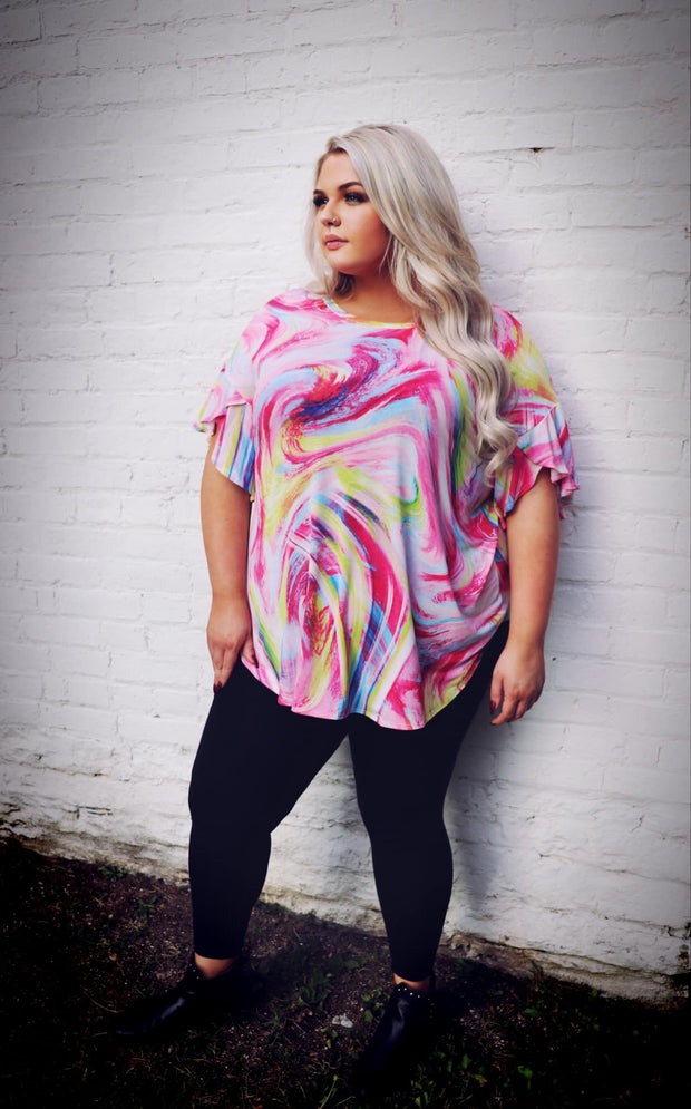PSS-C {Bubblegum Cotton Candy} Pink Multi Swirl Tunic SALE!!