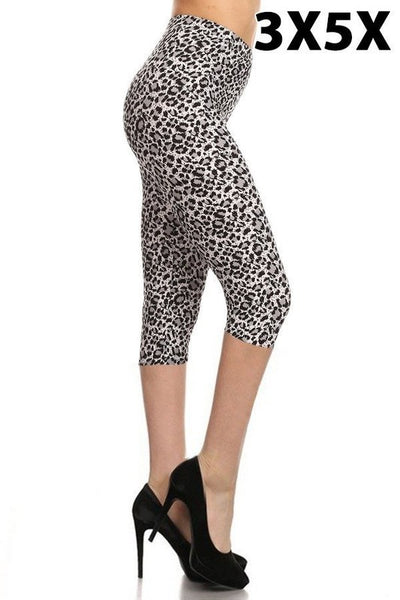 LEG/  {Spring Time} Grey Cheetah High Waist Capri Leggings