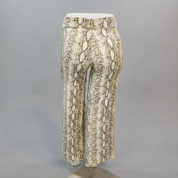 BT-A {Salt Of The Earth} Beige/Brown Snakeskin Print Palazzo Pants PLUS SIZE SALE!!