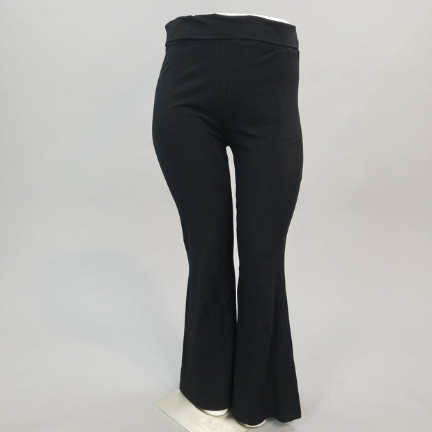 BT-L {In Your Space} Black Fold Over High Waist Yoga Pants PLUS SIZE