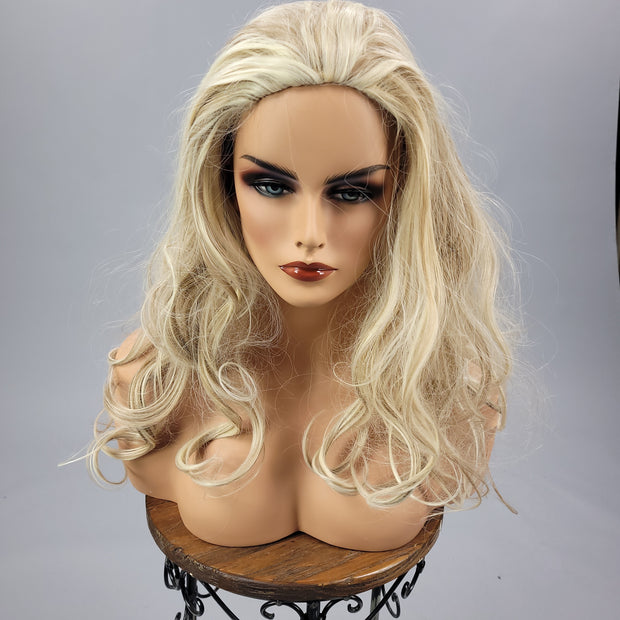 {Audrey} Bright Blonde Brown Streak Curl Wig