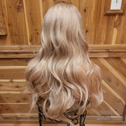 {Sheila} Medium Blonde Brown Rooted Long Curl Wig