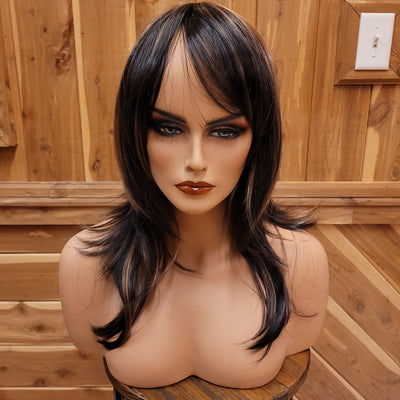 {Abigail} Dark Brown Golden Brown Highlight Long Wig W/Bangs