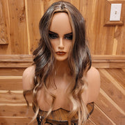 {Tanya} Medium Brown Dark Blonde Highlights Long Wavy Wig