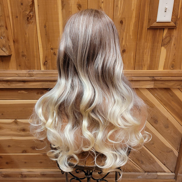 {Celeste} Burgundy Mix Blonde End  Long Curl Wig