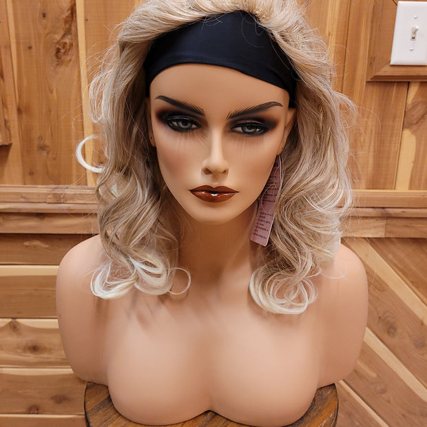 {Nora} Blonde Blend Medium Length Curly Headband Wig