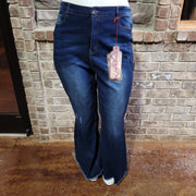 25 {ELITE} Dark Denim ULTRA Flare Jeans Frayed Hem