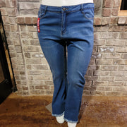 20 {Red Bottom} Light Wash Flare Jeans With Frayed