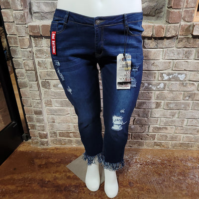 BT-L {RED BOTTOM} Denim Distressed Jeans With Holes