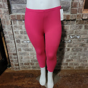 "LEG-17 ""ALWAYS"" Smooth (Butter-Soft) FUCHSIA Capri Leggings PLUS SIZE"