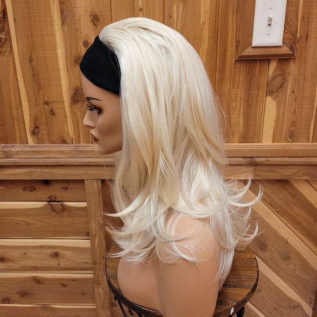 {Taylor} Platinum Blonde Straight Long Headband Wig