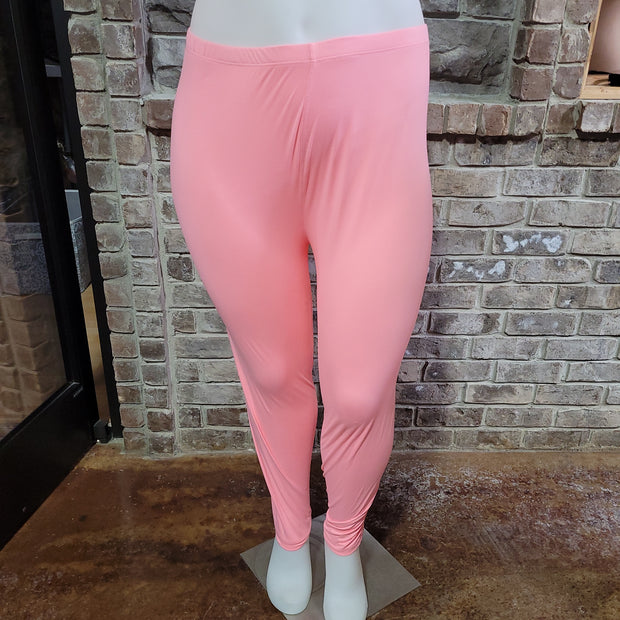 LEG-26 {Soft Candy} Pink Butter Soft Full Length Leggings PLUS SIZE XL 2X 3X