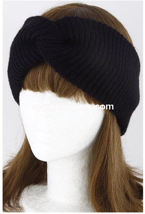 #18-R Black Knit Bow Headband Hats