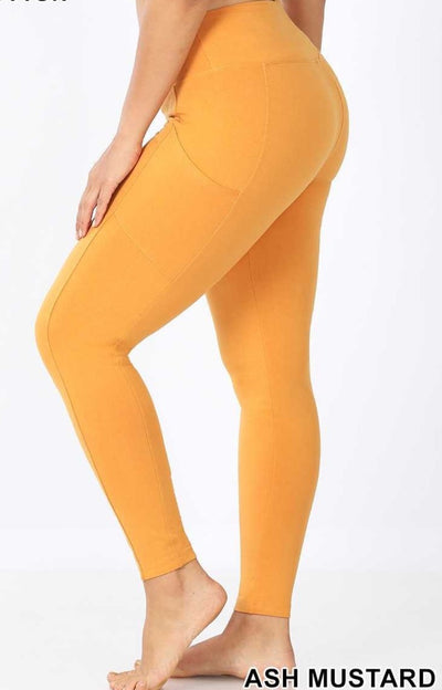 LEG-12 {Soft Haven} Mustard Butter Soft Full Length leggings  BUTTER SOFTX-PLUS