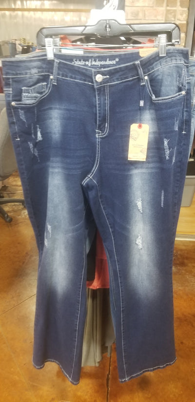 BT-H {State Of Independence} Dark Distressed Jeans PLUS SIZE 17/18