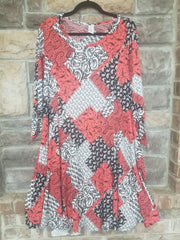 PQ-C {Let's Rodeo} Red Paisley Pattern Dress Tie Sleeve PLUS SIZE 1X 2X 3X