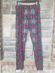 Leg-35 {Fairy Tale Beauty} Swirl Print Full Length Leggings EXTENDED PLUS SIZE 3X/5X