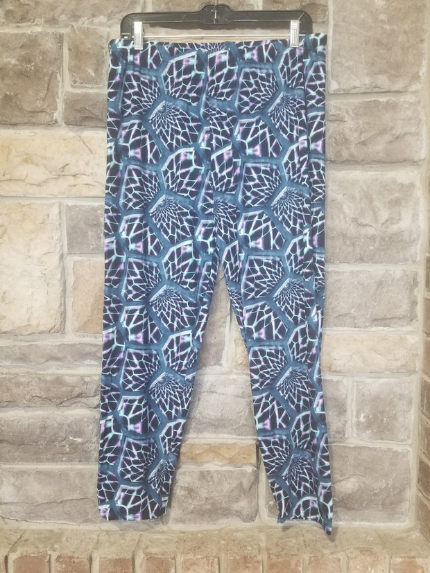 Leg-A {Roller Rink Party} Multi Print Capri Leggings EXTENDED PLUS SIZE 3X/5X