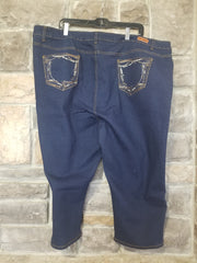 BT-M {Rhythm & Blues} Dark Indigo Denim Capri W/Pocket Stitching EXTENDED PLUS SIZE 24 26 28