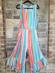 RP-A {Romp Around Town} Multi Color Ruffle Hem Capri Romper PLUS SIZE 1X 2X 3X