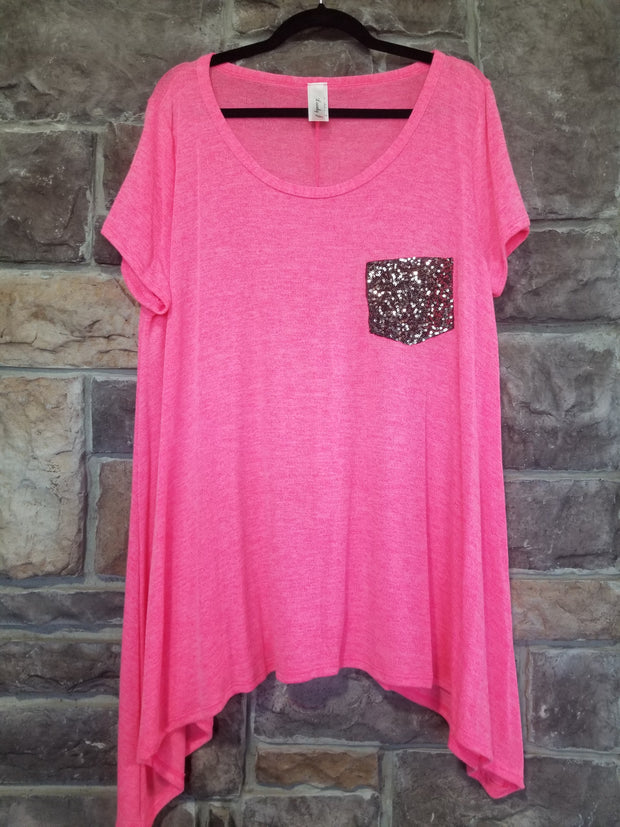 SD-Y {Bright & Sparkly} Neon Pink Sharkbite Top W/Sequined Pocket PLUS SIZE 1X 2X 3X