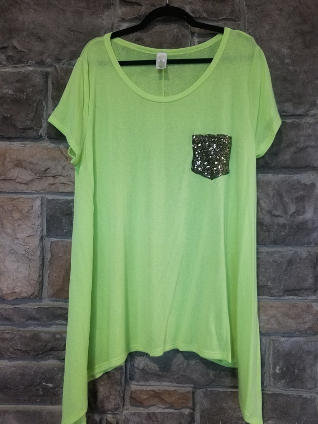 SD-Z{Refreshing Limeade} Neon Top W/Sequined Pocket PLUS SIZE 1X 2X 3X
