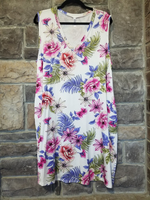 SV-M {Tropical Travels} Ivory V-Neck Dress Tropical Floral Print PLUS SIZE 1X 2X 3X SALE!!