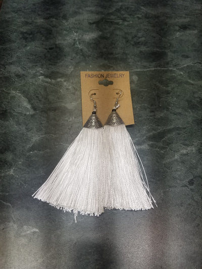 #203 White & Silver Tassel Earrings