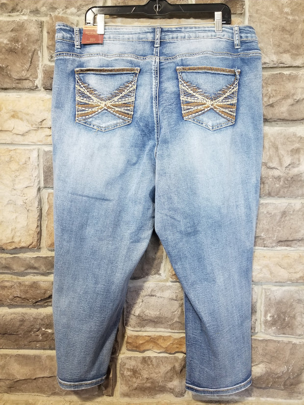 BT-D {State Of Freedom} Medium Wash Denim Capri With Pocket Detail PLUS SIZE 20 22