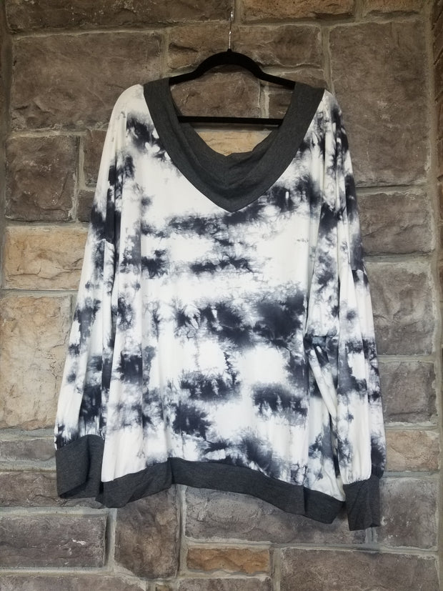 OS-M {Full Of Mystery} Charcoal & Ivory Tie Dye Off Shoulder Top EXTENDED PLUS SIZE1X 2X 3X 4X 5X