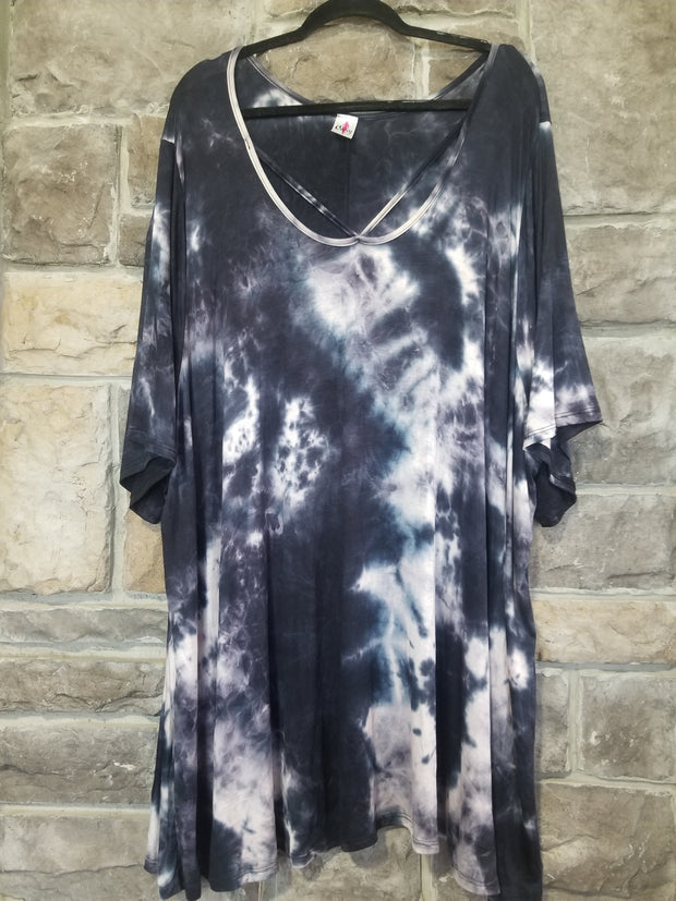 PSS-R {Hold On To The Night} Black Tie Dye Cross Neck Tunic CURVY BRAND EXTENDED PLUS SIZE 3X 4X 5X 6X