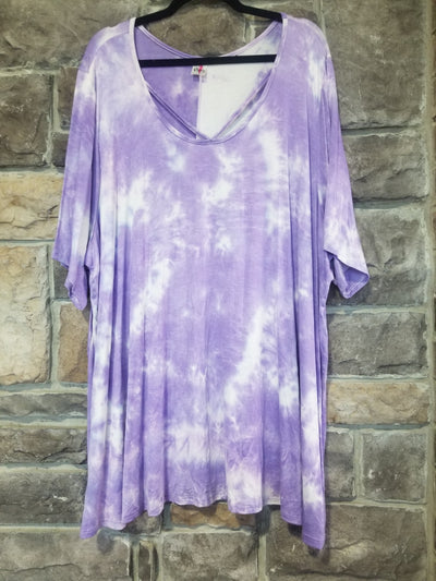 PSS-Q {A Little Magic} Lilac Tie Dye Cross Neck Tunic CURVY BRAND EXTENDED PLUS SIZE 3X 4X 5X 6X