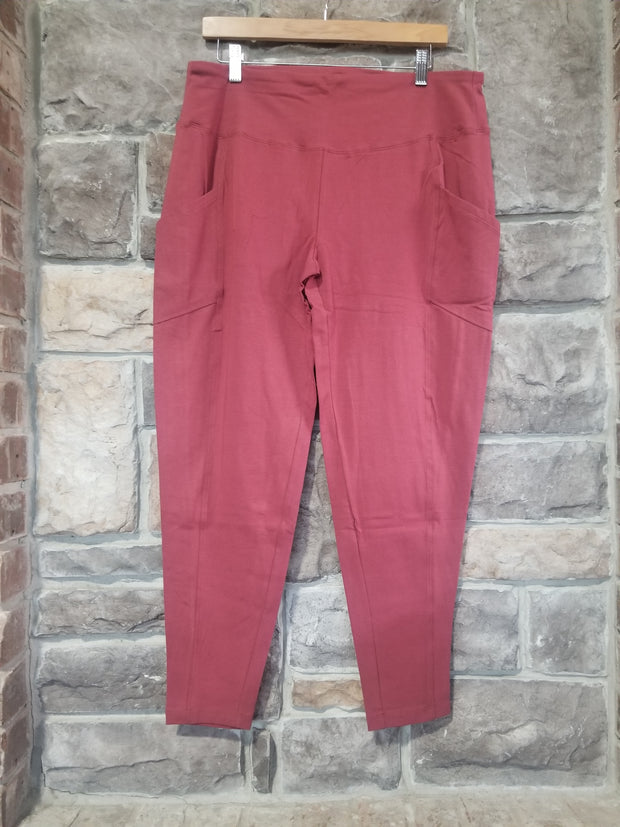 LEG-B {I Rise Up} Rose Wide Waistband Full Length Leggings PLUS SIZE 1X 2X 3X