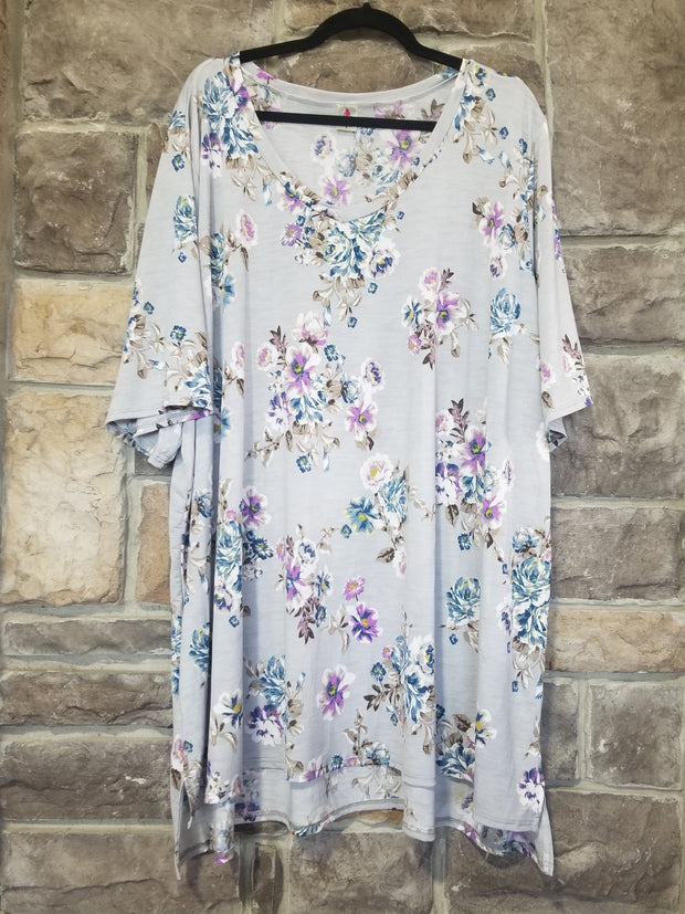 PSS-G {Smokey Vibes} Light Grey Tunic Purple & Blue Flowers CURVY BRAND EXTENDED PLUS SIZE 3X 4X 5X 6X SALE!!