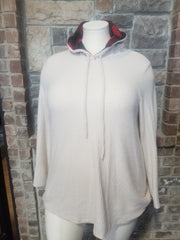 HD-A {Fall Road Trip} Beige Waffle Hoodie Red Plaid Hood PLUS SIZE XL 2X 3X