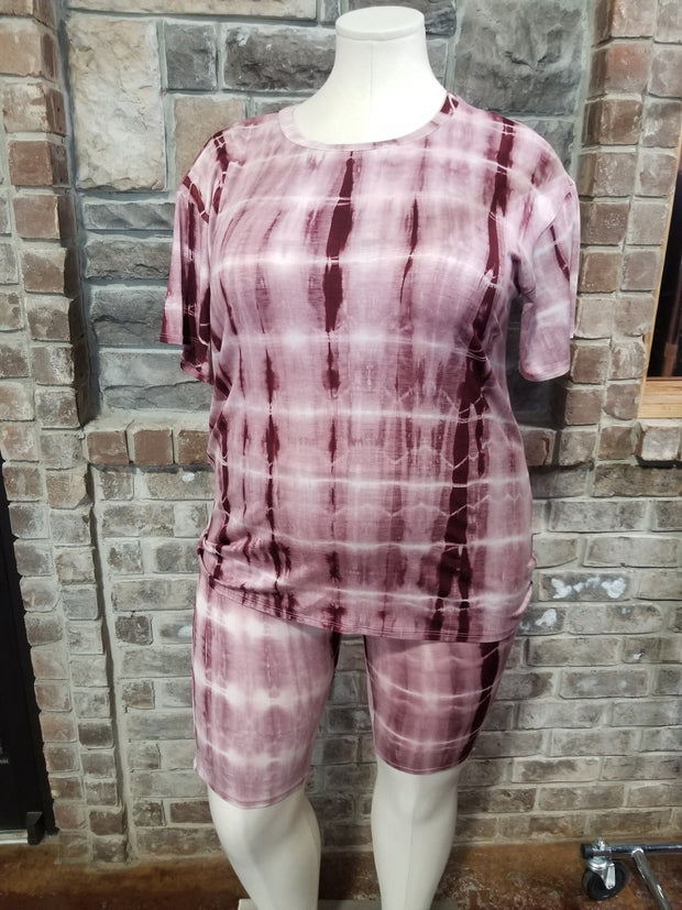 SET-D {Bohemian Lounge} Wine Tie Dye Shorts Lounge Set PLUS SIZE XL 2X 3X