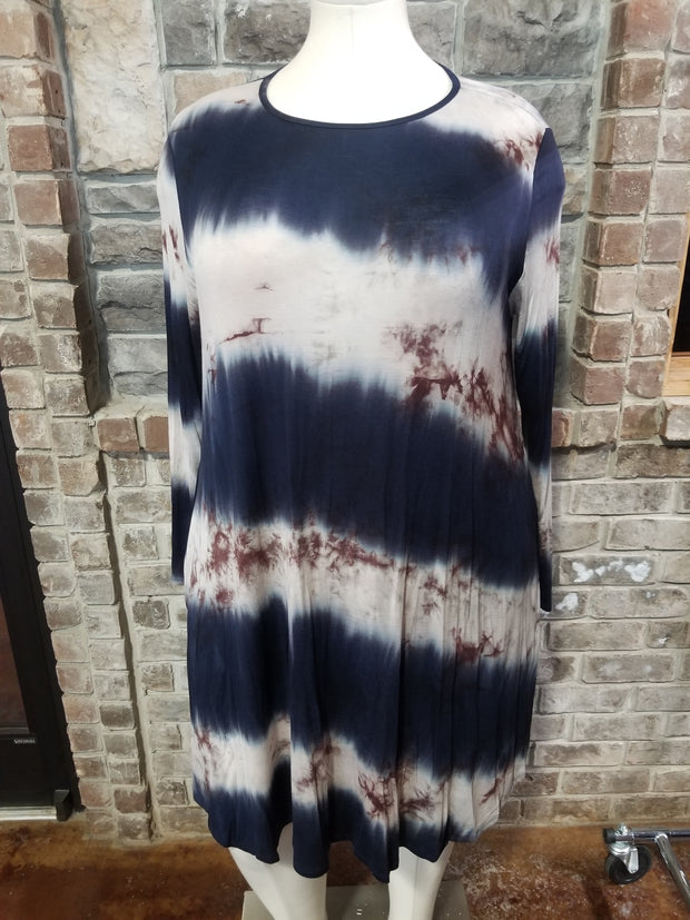 PLS-K {Slow It Down}  SALE!! Navy Ivory Brown Tie Dye Dress EXTENDED PLUS SIZE 3X 4X 5X