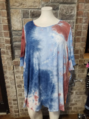 PQ-T {Feel Refreshed} SALE!! Lt. Blue Rust Tie Dye Bell Sleeve Dress BUTTER SOFT CURVY BRAND EXTENDED PLUS SIZE 3X 4X 5X 6X