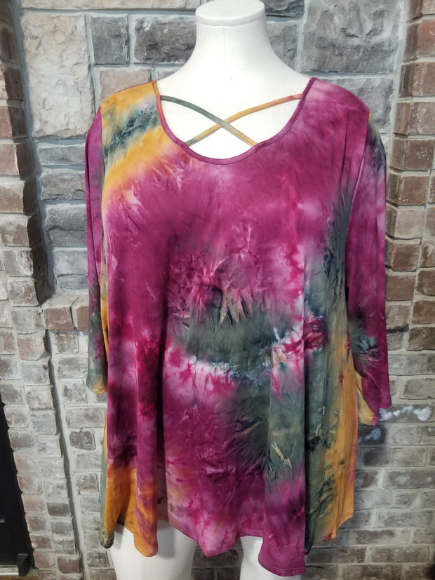 PQ-Q {Fall Favorite} Burgundy Gold Tie Dye Cross Neck Tunic BUTTER SOFT CURVY BRAND EXTENDED PLUS SIZE 3X 4X 5X 6X