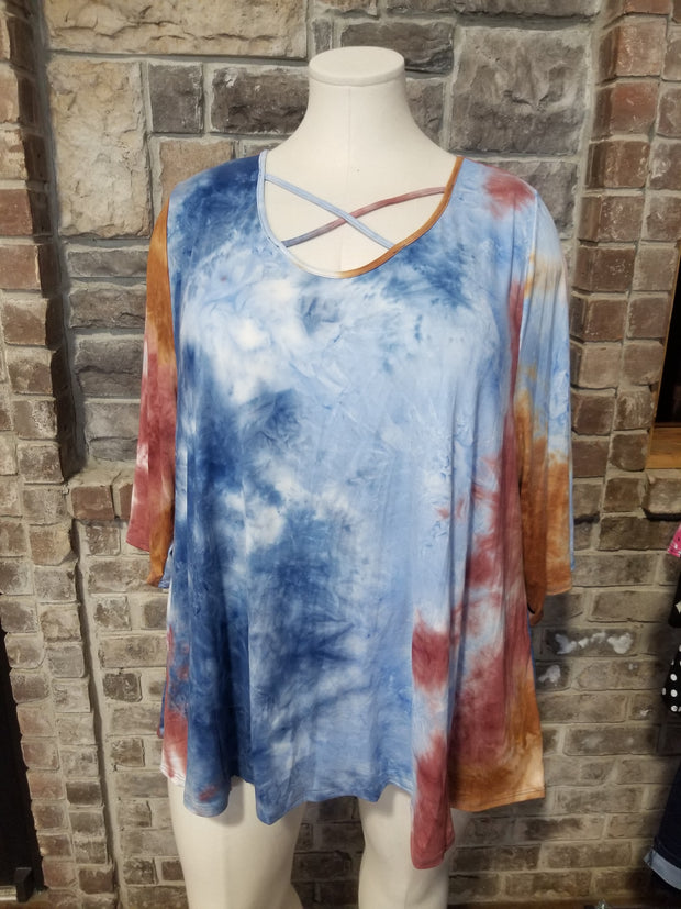 PQ-W {Crisp Fall Air} Blue Rust Tie Dye Cross Neck Tunic BUTTER SOFT CURVY BRAND EXTENDED PLUS SIZE 3X 4X 5X 6X