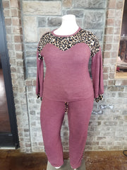 SET-B {Chill Worthy} Burgundy Leopard Knit Lounge Set PLUS SIZE XL 2X 3X