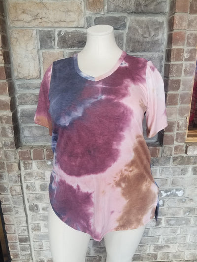 PSS-Y {Need My Space} Navy Wine Tie Dye V-Neck Tunic CURVY BRAND EXTENDED PLUS SIZE 3X 4X 5X 6X