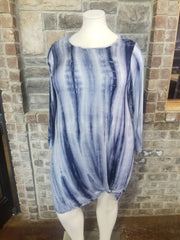 PLS-A {Run The Day} Blue Tie Dye Dress Knot Hem Detail PLUS SIZE XL 2X 3X